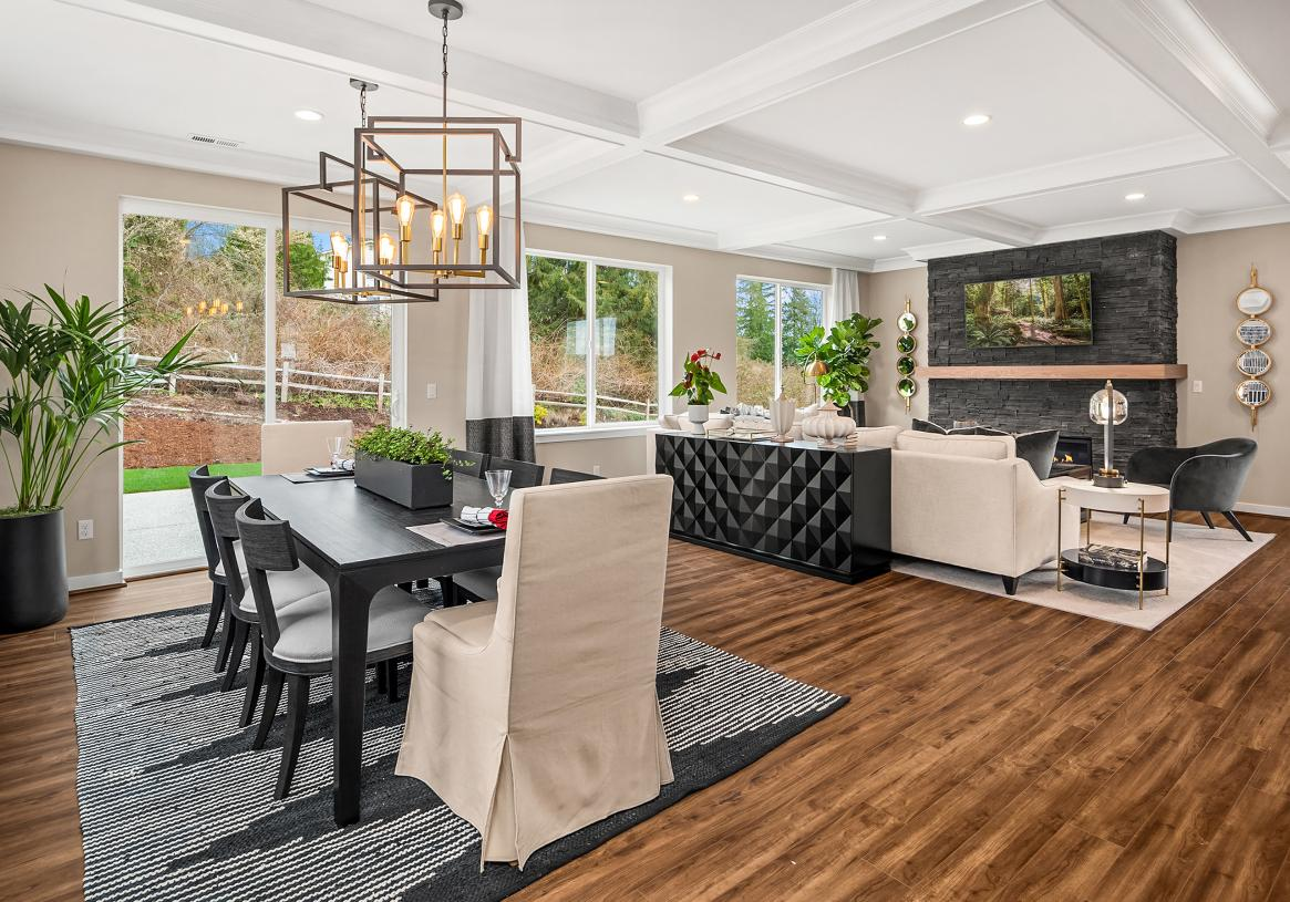 Large dining room can easily accommodate seating for eight or more