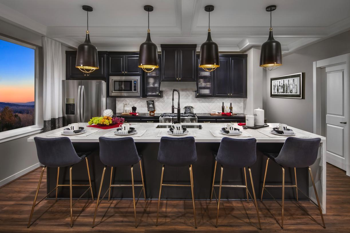Well designed kitchen with extended center island