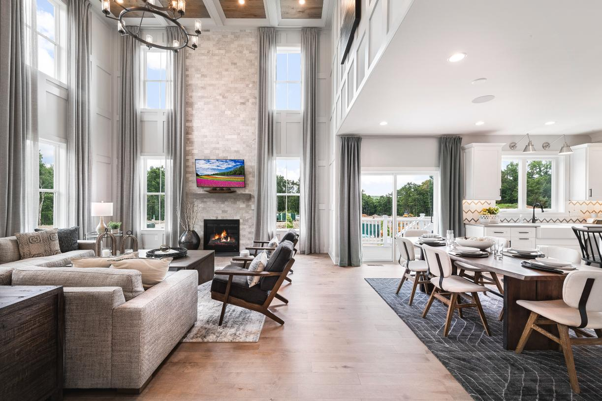 Kitchen opens to great room with cathedral ceilings