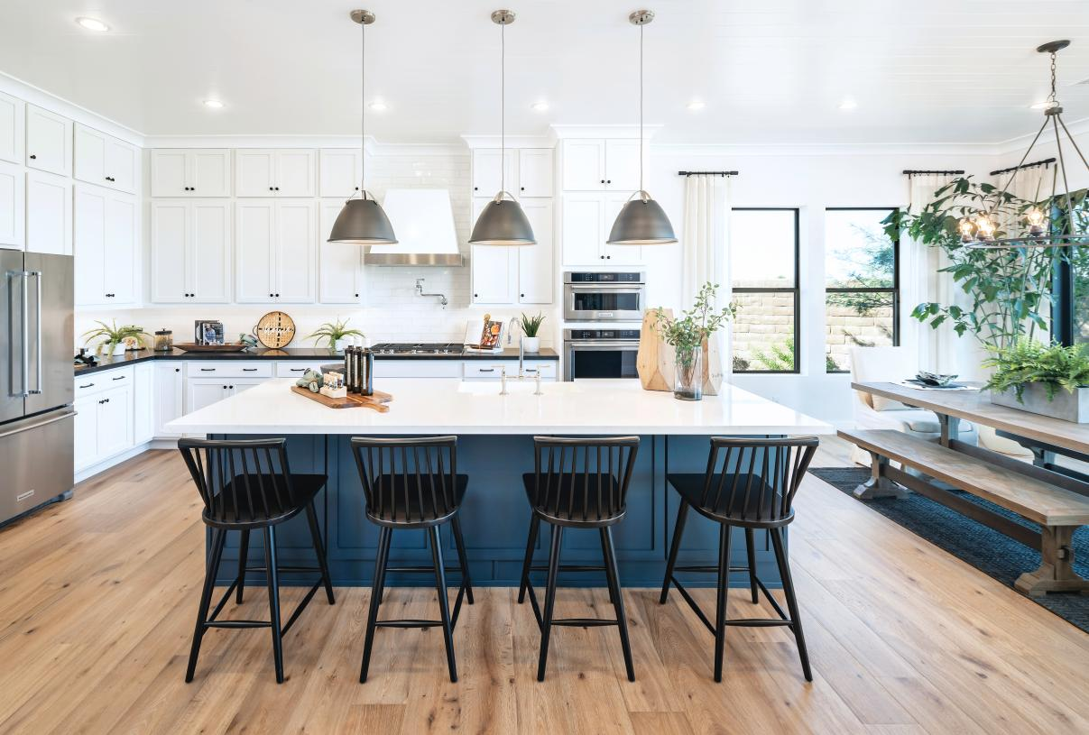 Well-appointed kitchens with ample countertop and cabinet space