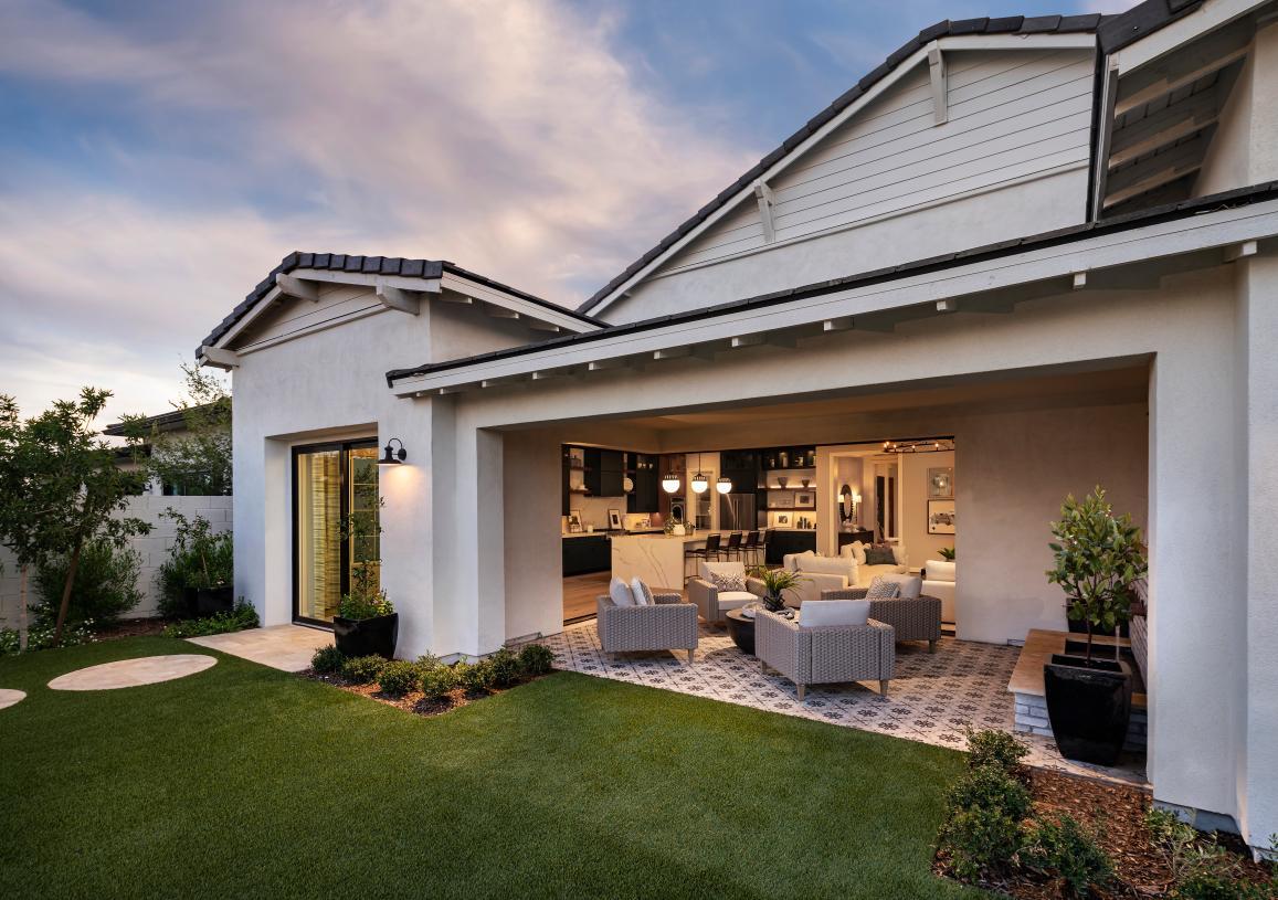 Versatile outdoor living spaces and sliding glass doors for indoor/outdoor living