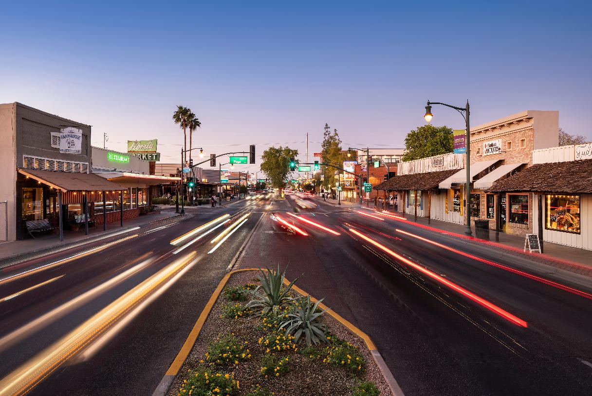 Enjoy a variety of dining and shopping options in Downtown Gilbert