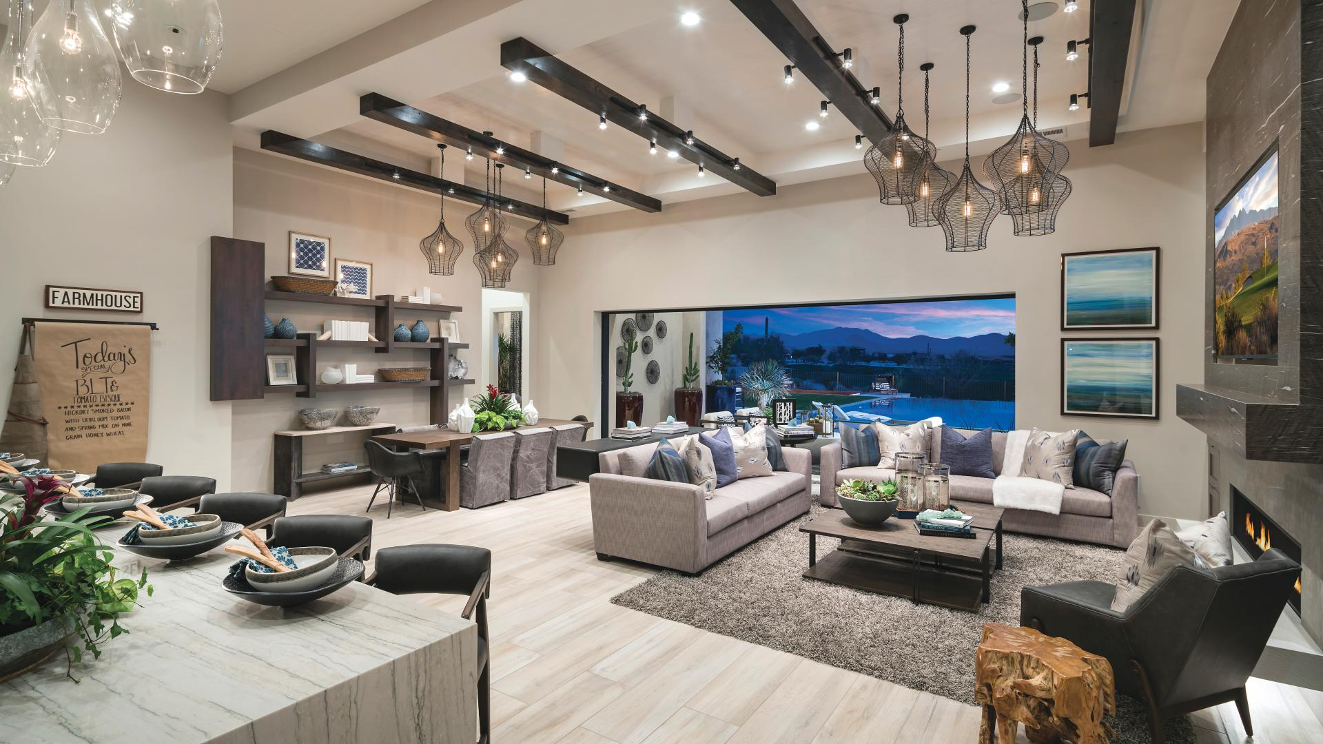 Spacious open-concept great rooms with multi-slide glass doors for indoor/outdoor living