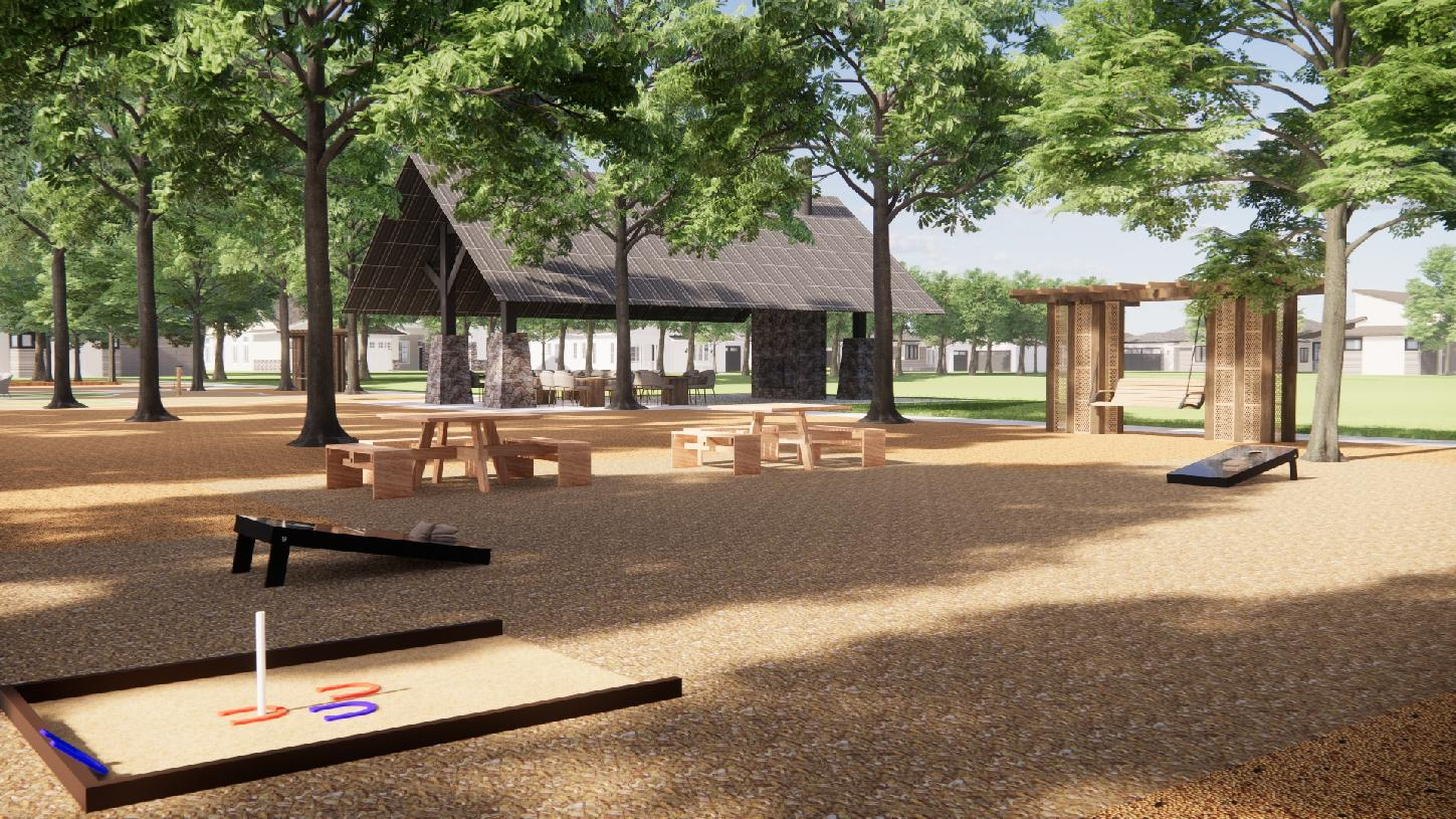 Bridle Ranch future corn hole and seating areas
