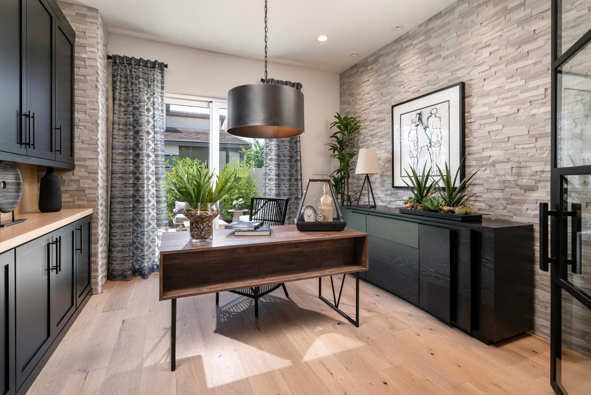 Versatile home office with sliding door to outdoor living space