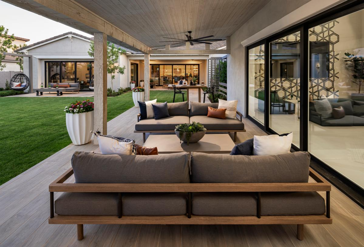 Covered patio for outdoor living located off the Super Garage