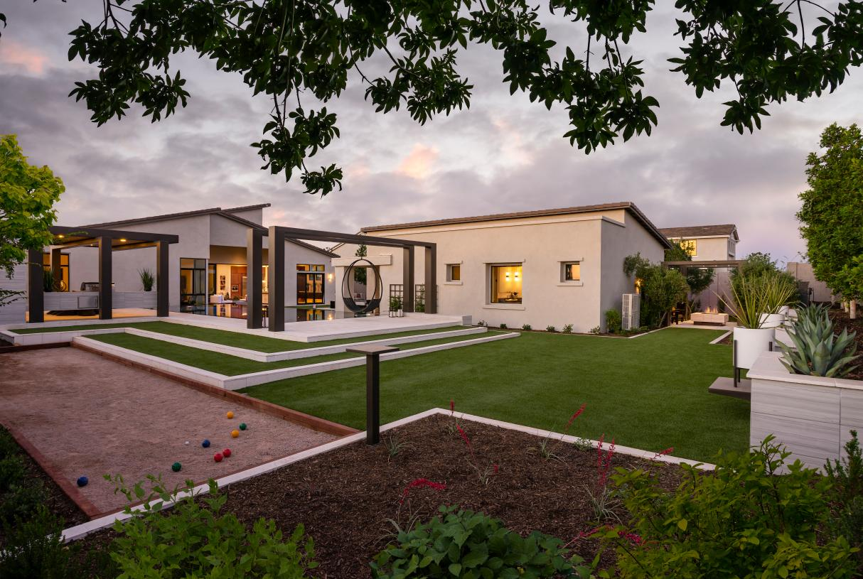 Large backyards for outdoor living with a bocce ball court