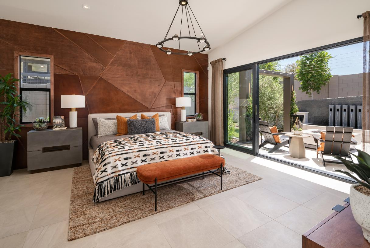 Guest casita bedroom with access to private patio
