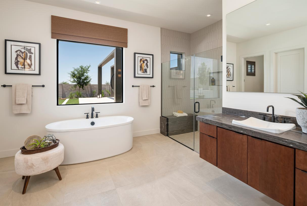 Luxurious guest casita with freestanding tub and walk-in shower