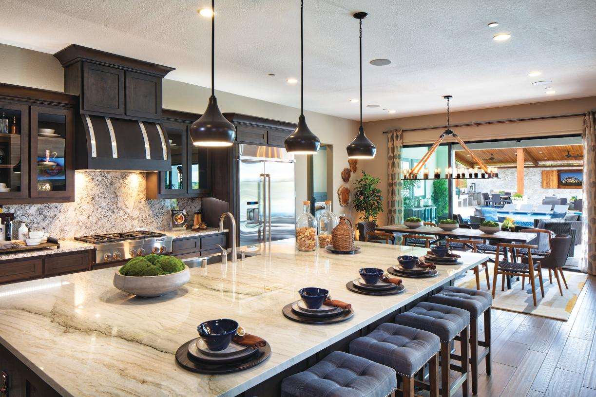 Sandhaven's sophisticated kitchen with a large center island