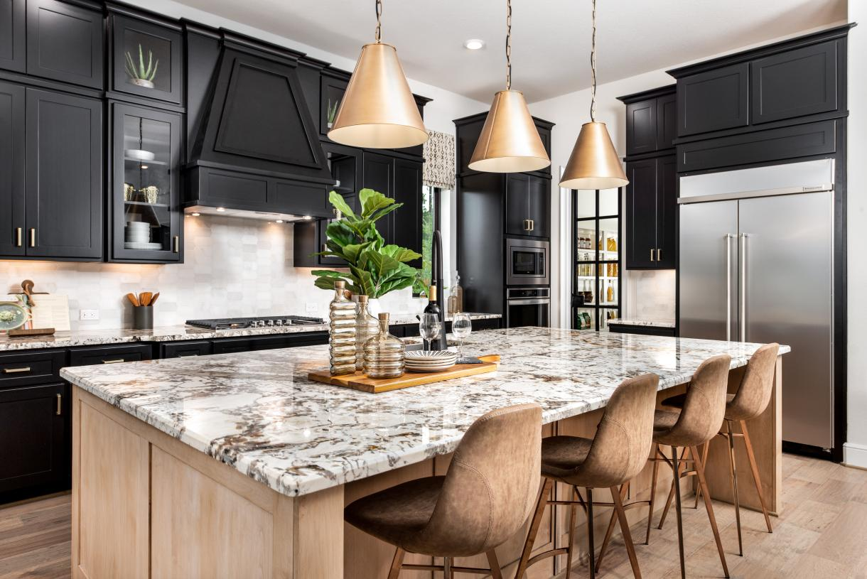 Valen kitchen is well-appointed with a large center island