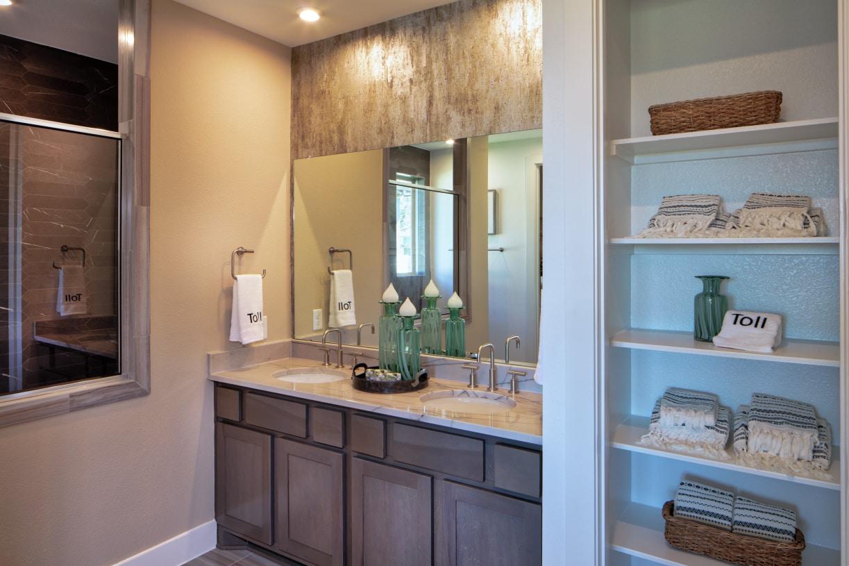 Spa-like primary bath with dual-sink vanity