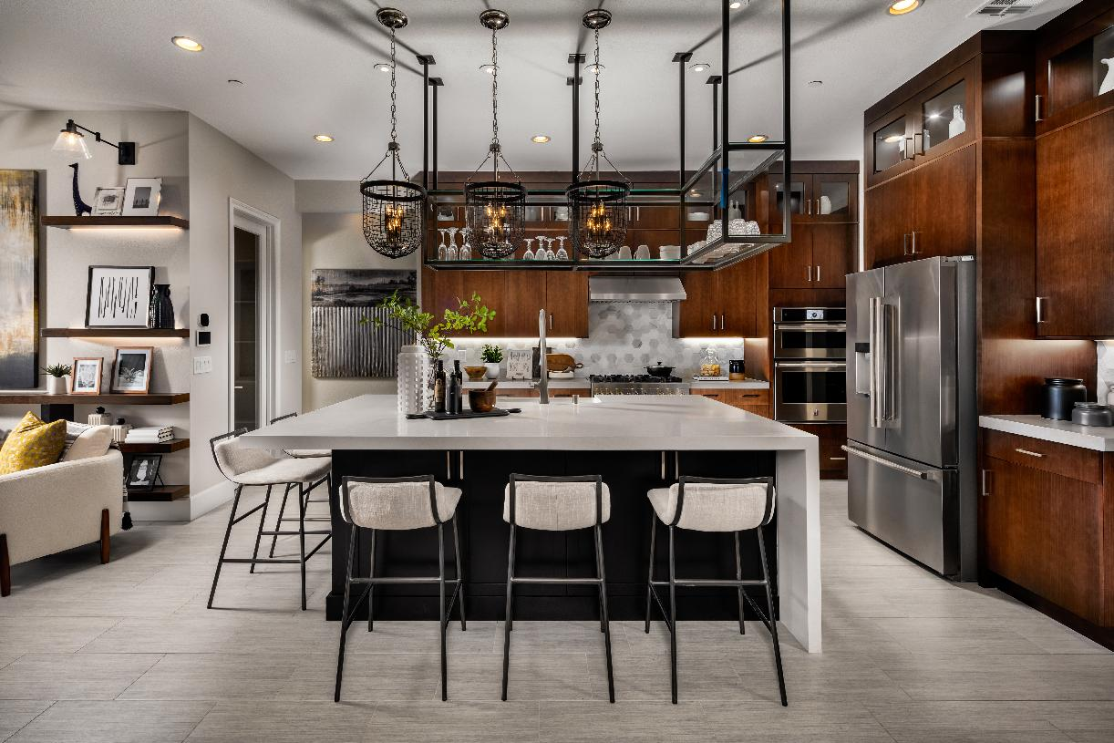Well-designed kitchen with large center island