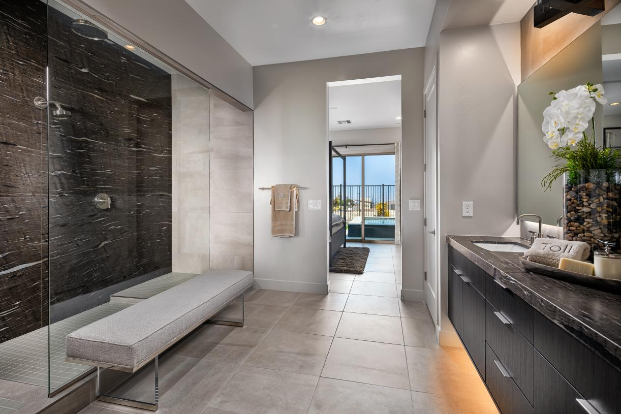 Luxe primary baths with dual vanities