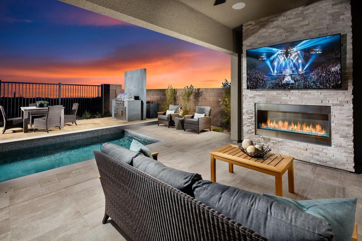 Covered patio with optional fireplace