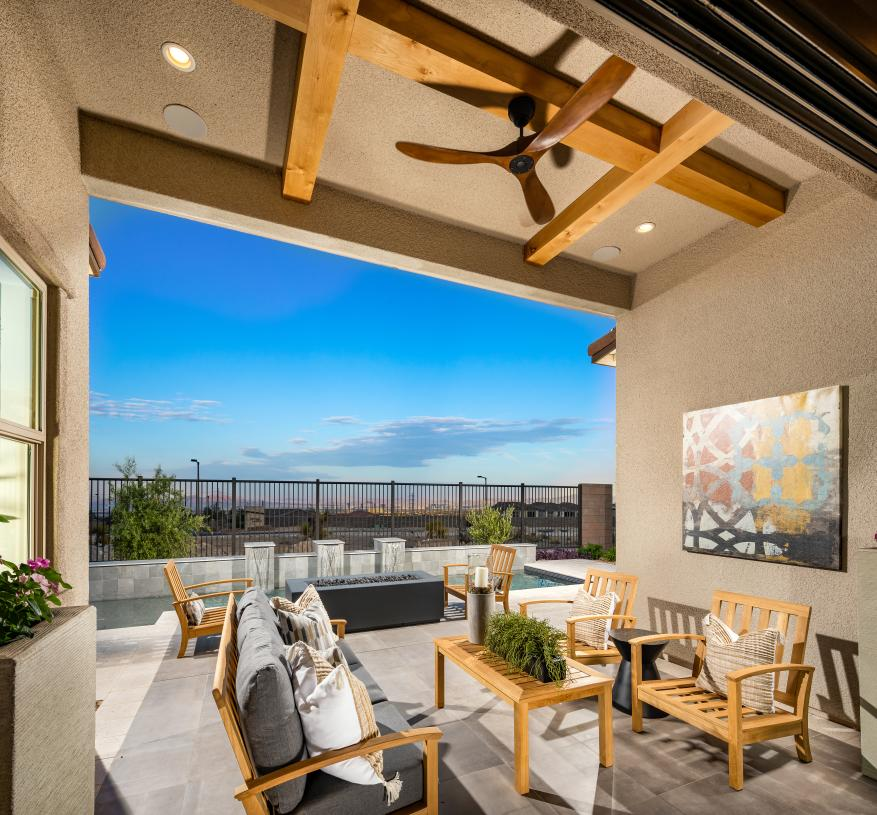Oversized covered patio provides ideal space for outdoor living