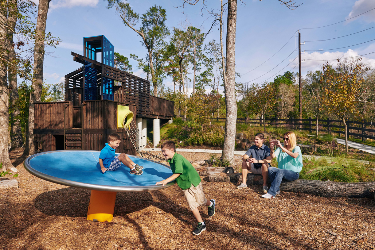 Children's play garden includes a tree house. Join the fun!