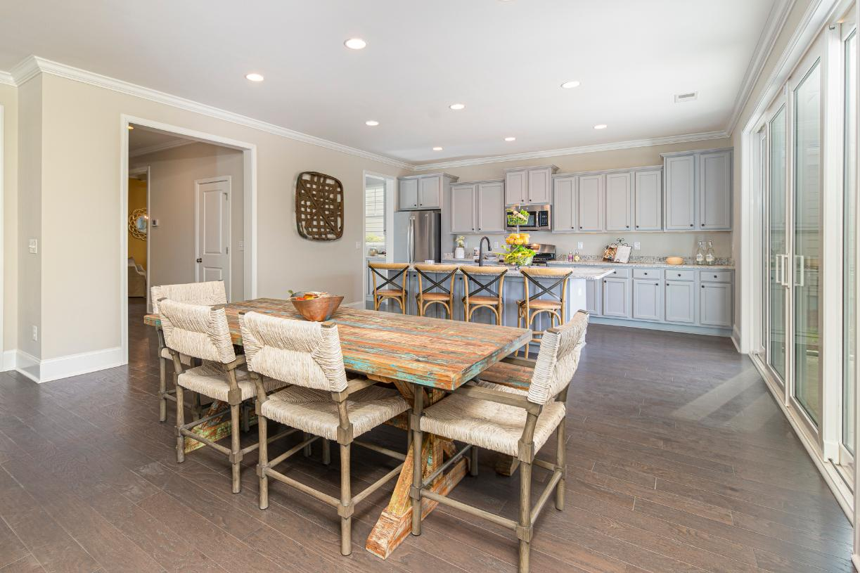 Open concept floor plans with casual dining spaces adjacent to the kitchen