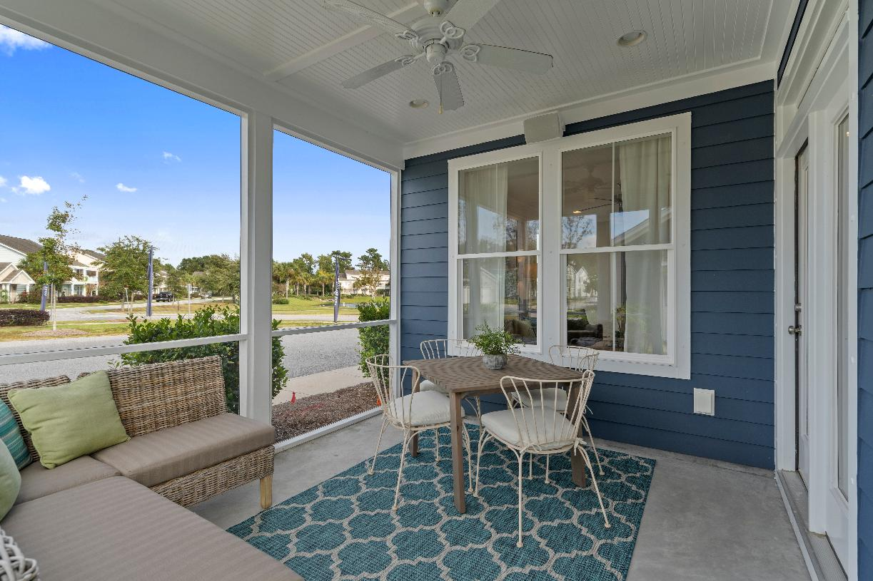 Covered porches with options for a screen for outdoor living and entertaining