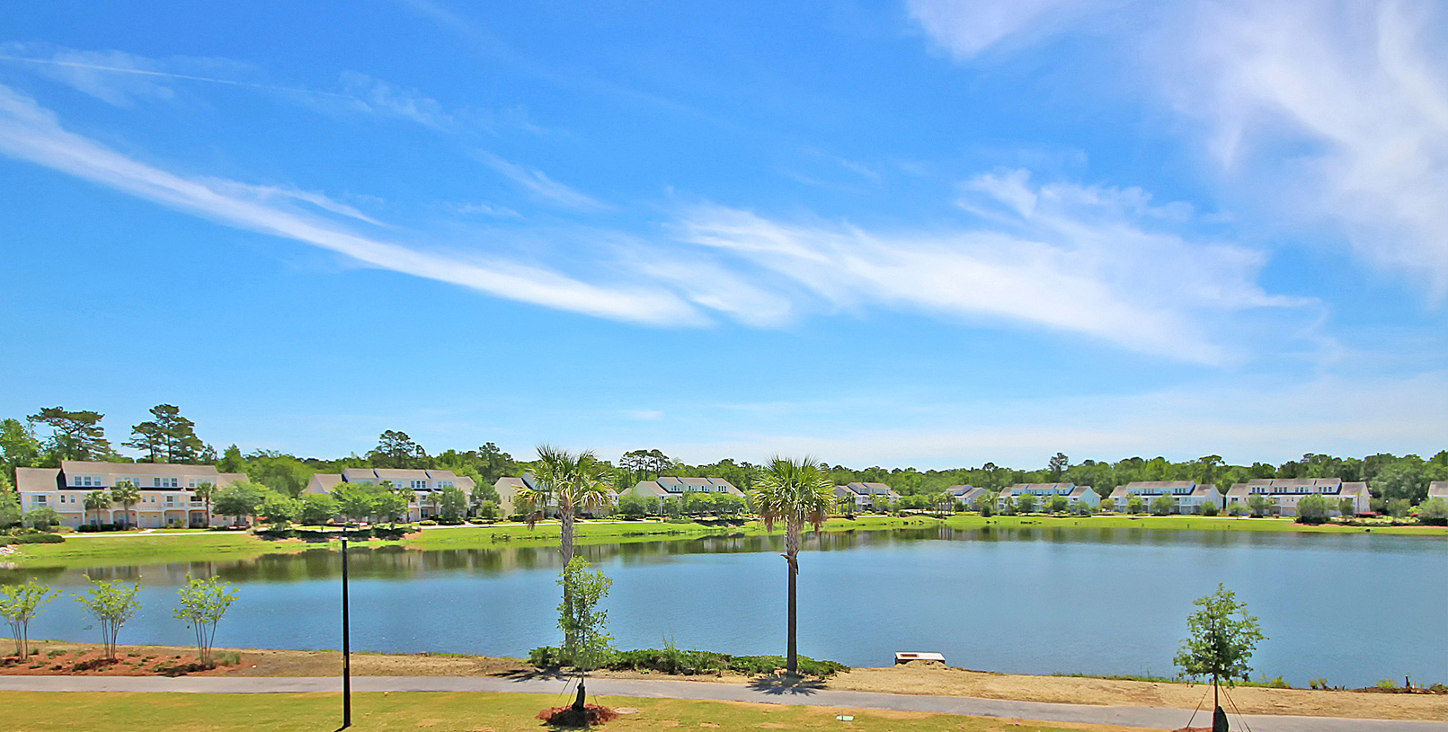 Johnston Pointe community lake with walking paths