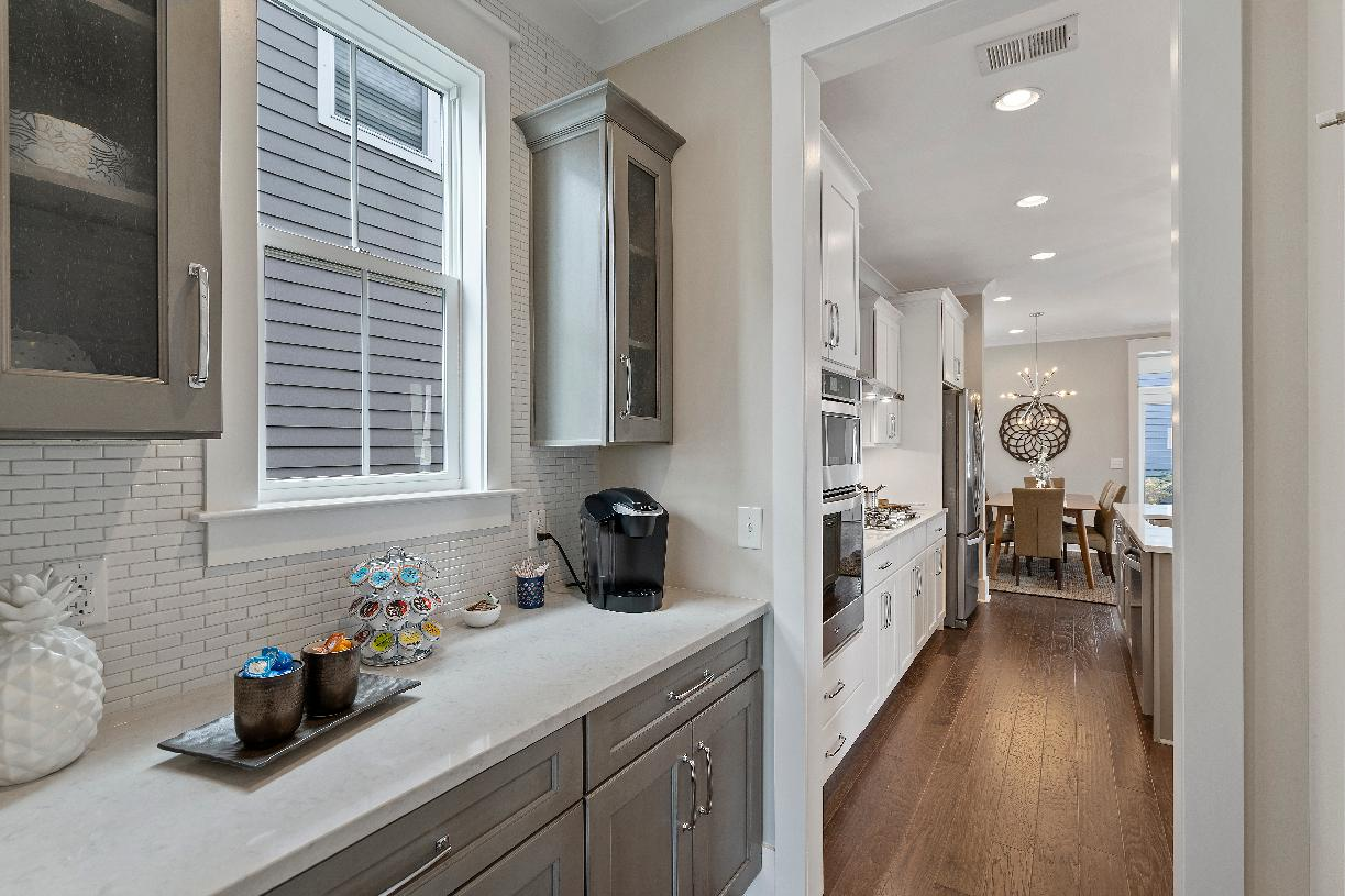 Kitchen prep area with ample storage space