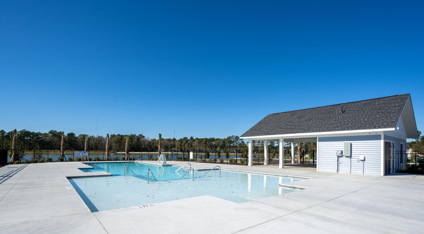 Community pool with views of the lake