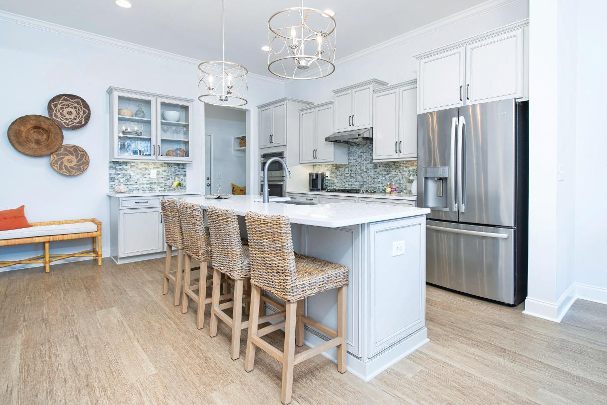 Beautiful kitchens with large center islands ideal for casual dining