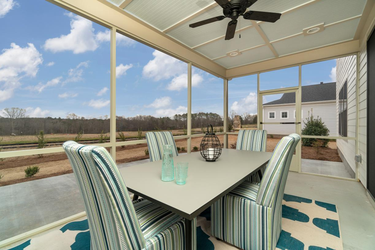 Rear covered porches with optional screens for outdoor living and entertaining