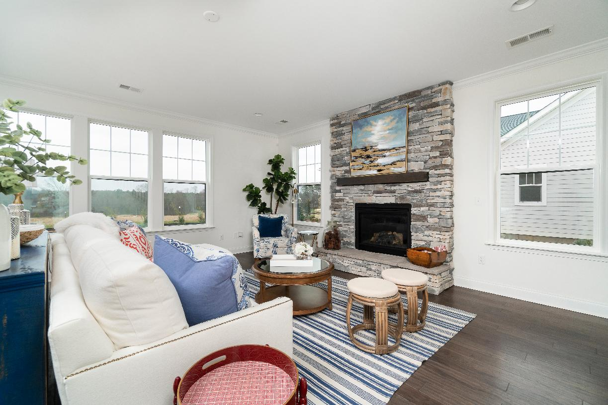 Spacious open concept great rooms with optional fireplaces