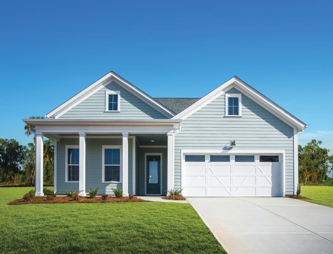Single level home designs with front covered porches