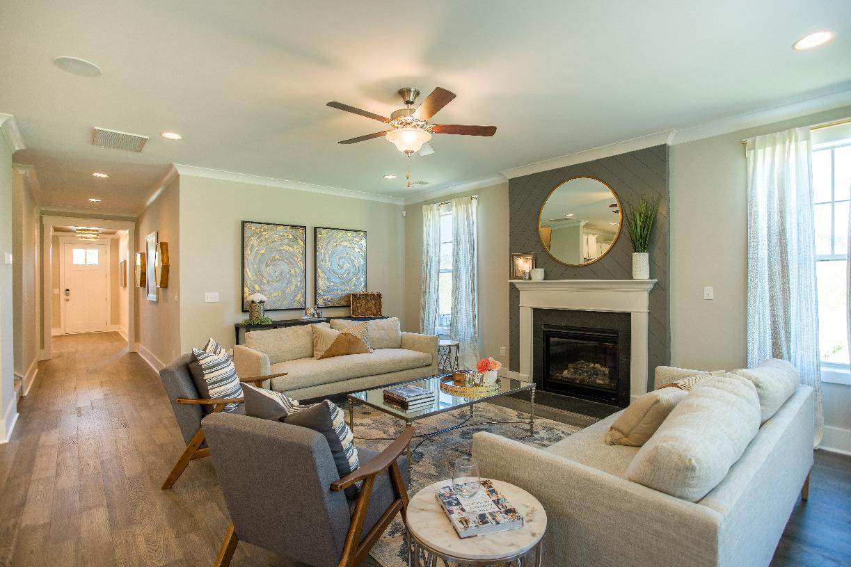 Spacious open concept great room with a fireplace