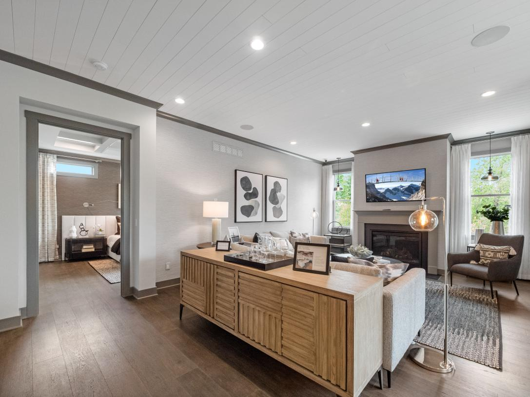 Expansive great room shown with optional fireplace