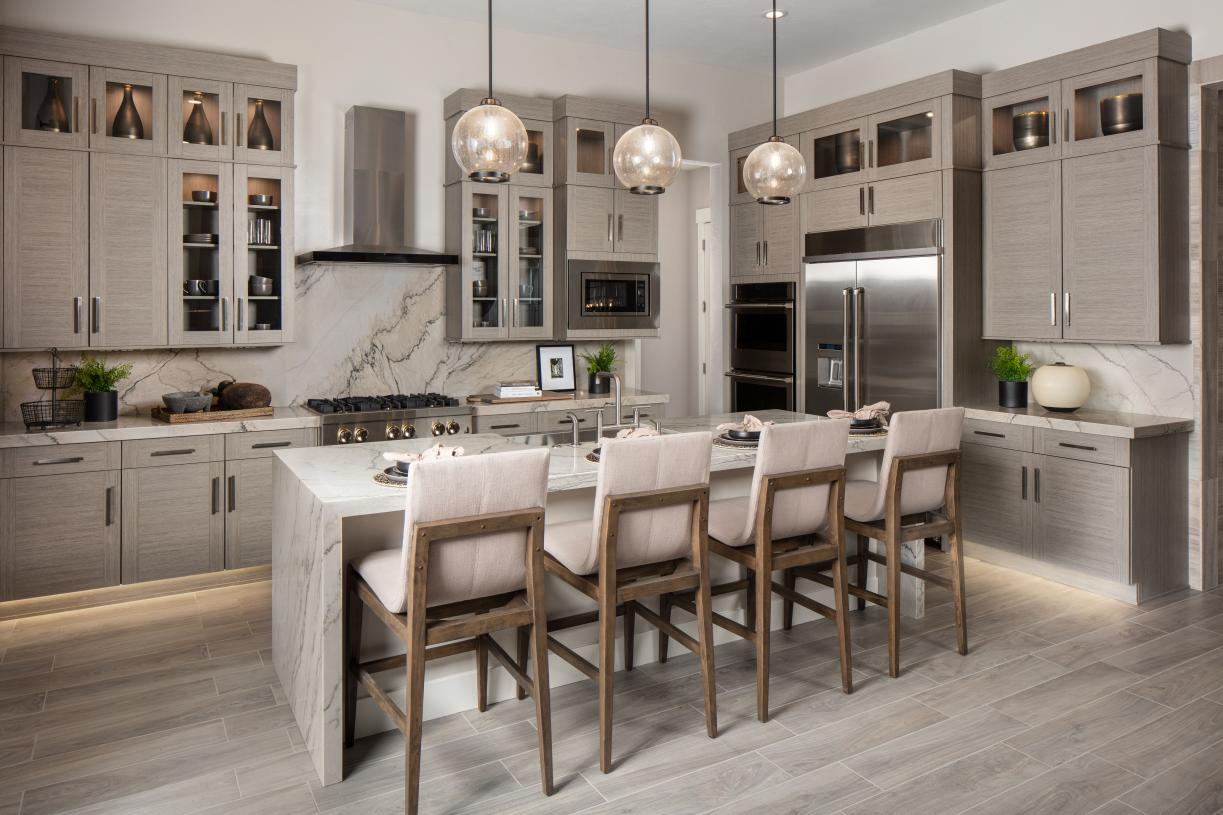 Gourmet kitchen with seating at large center island