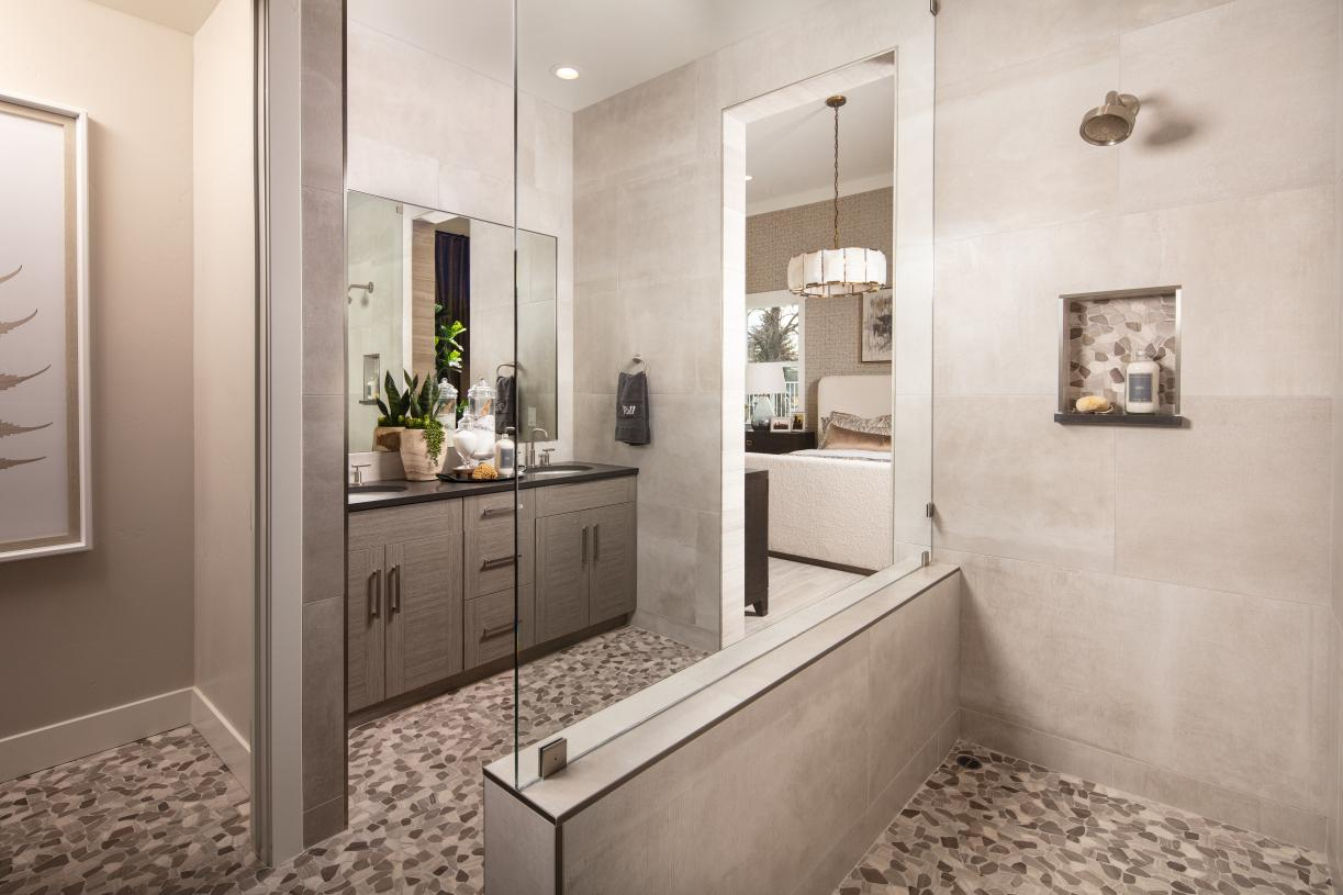 Luxurious primary bath with dual-sink vanity