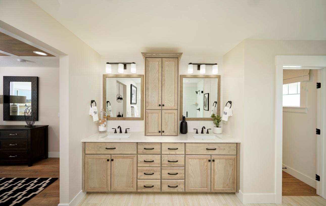 Spa-like primary bathroom double vanities