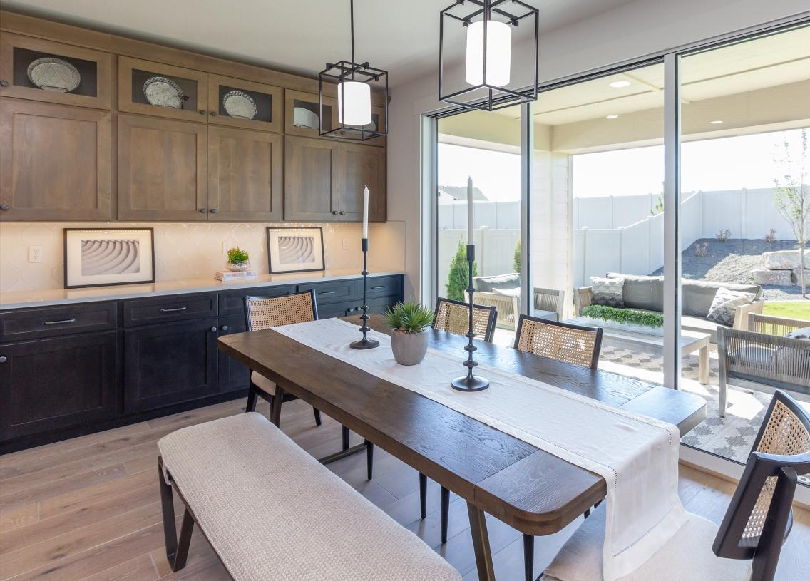 Dining area with extended cabinets for extra storage and convenience