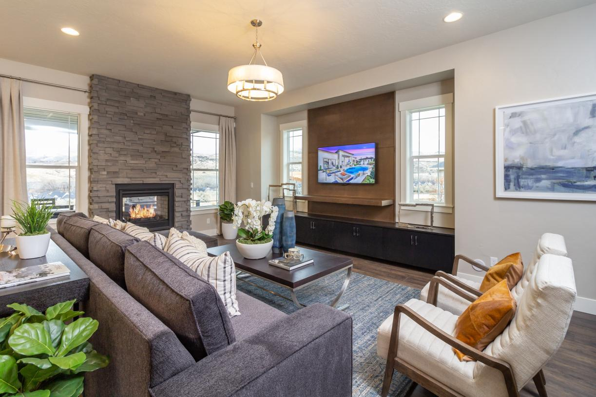 Full-height gas fireplace in great room
