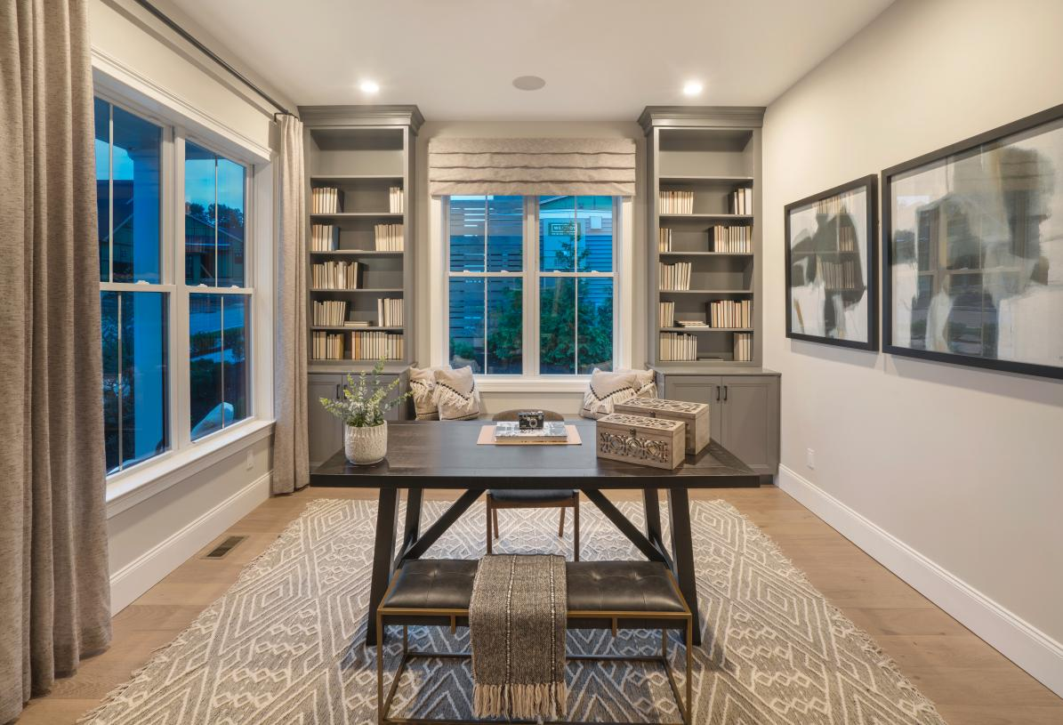 First-floor flex space can be enjoyed as home office