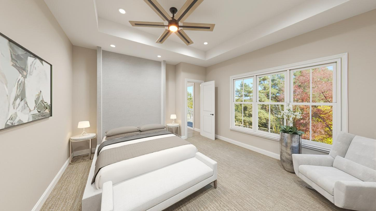First-floor primary bedroom suite with walk-in closet and luxurious bath