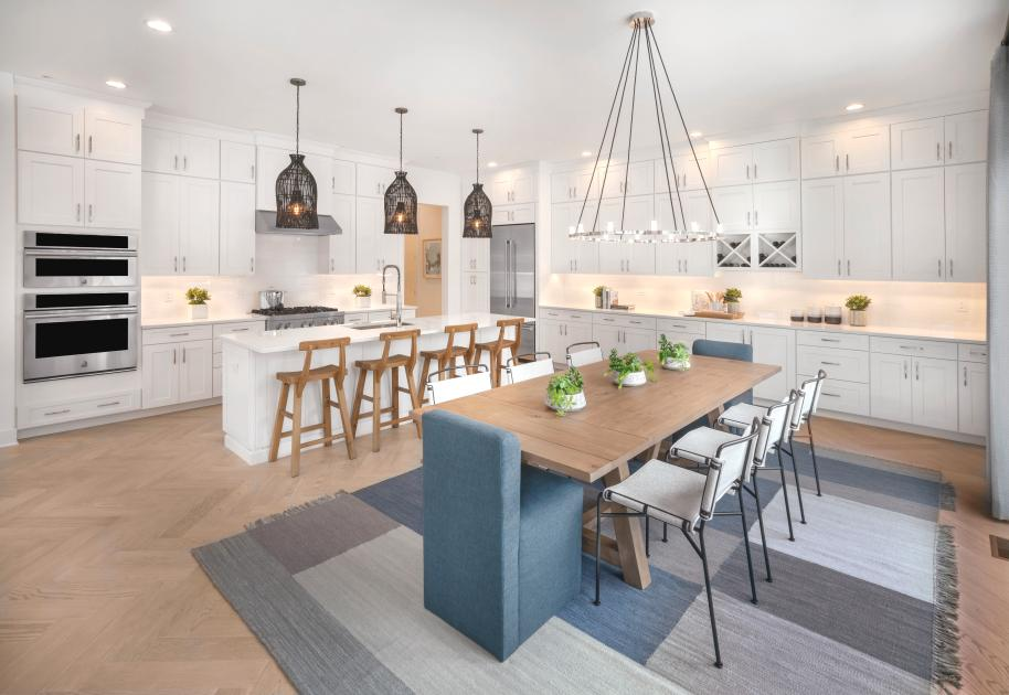 Spacious kitchen with large island, pantry, and casual dining