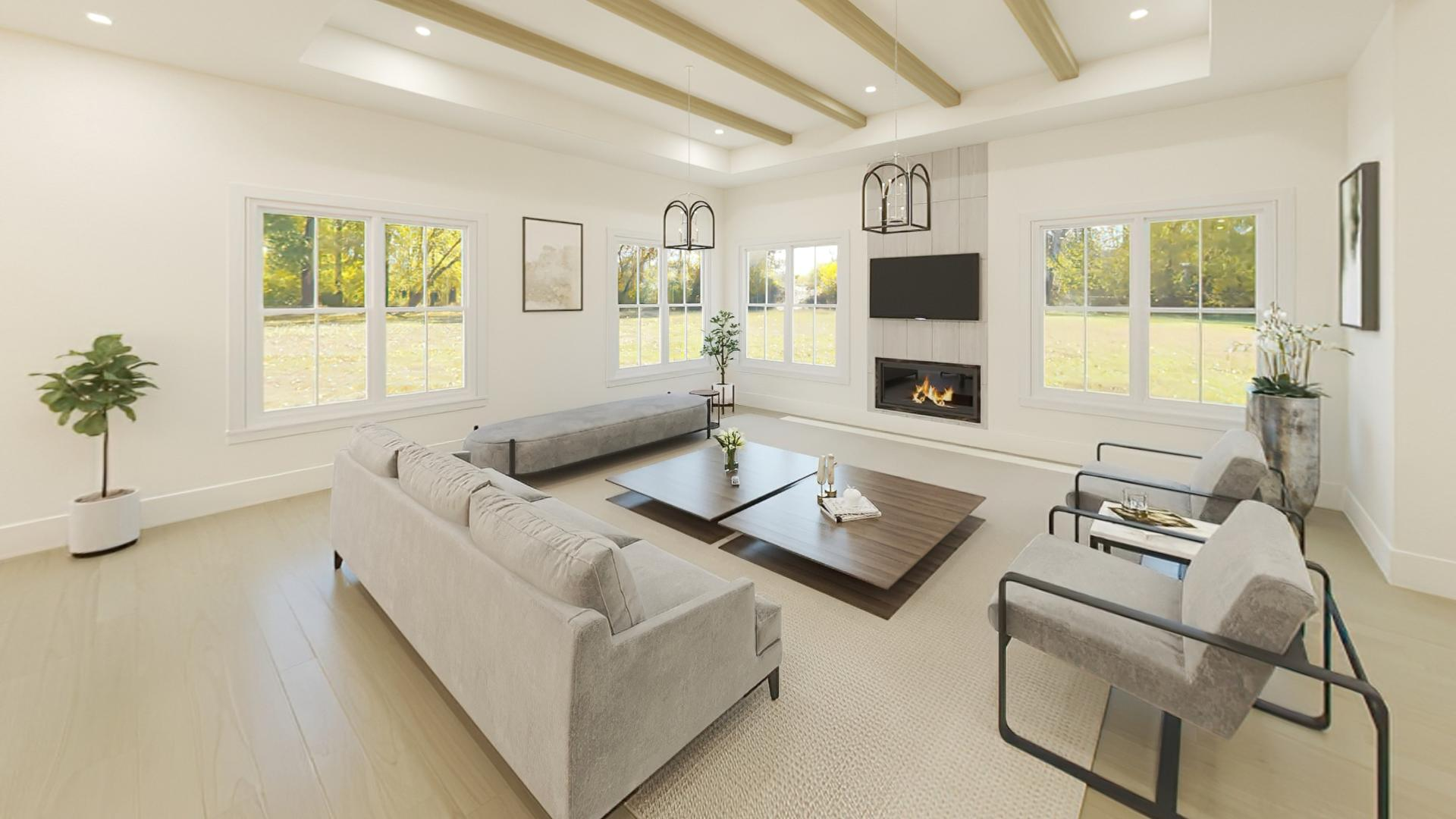 Great room with fireplace and tray ceiling