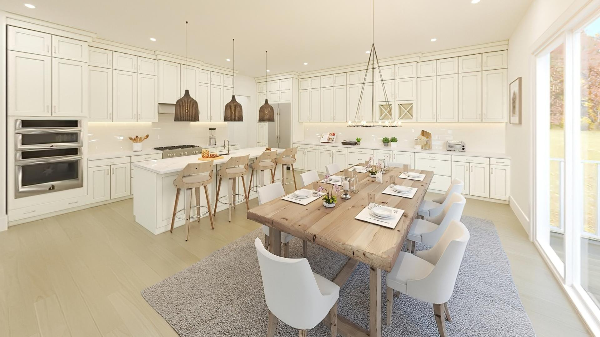 Kitchen with center island open to the large casual dining area