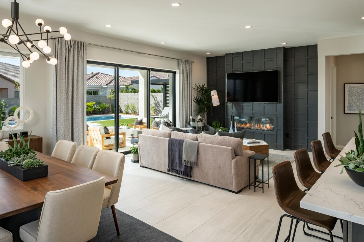 Open concept great rooms with multi-slide glass doors ideal for entertaining