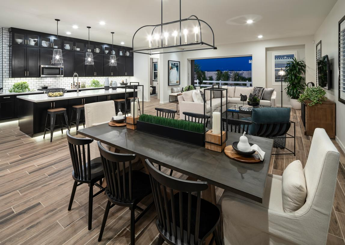 Casual dining areas adjacent to the kitchens