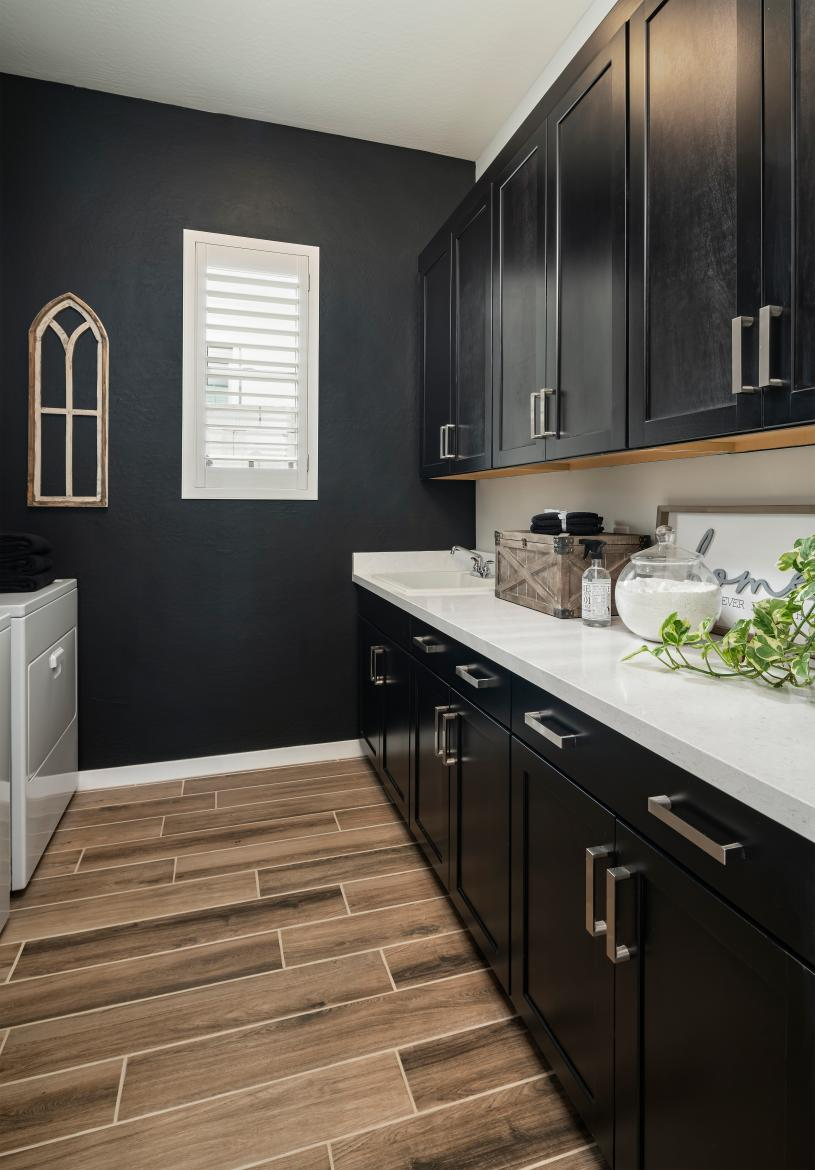 Spacious laundry rooms with ample cabinet space