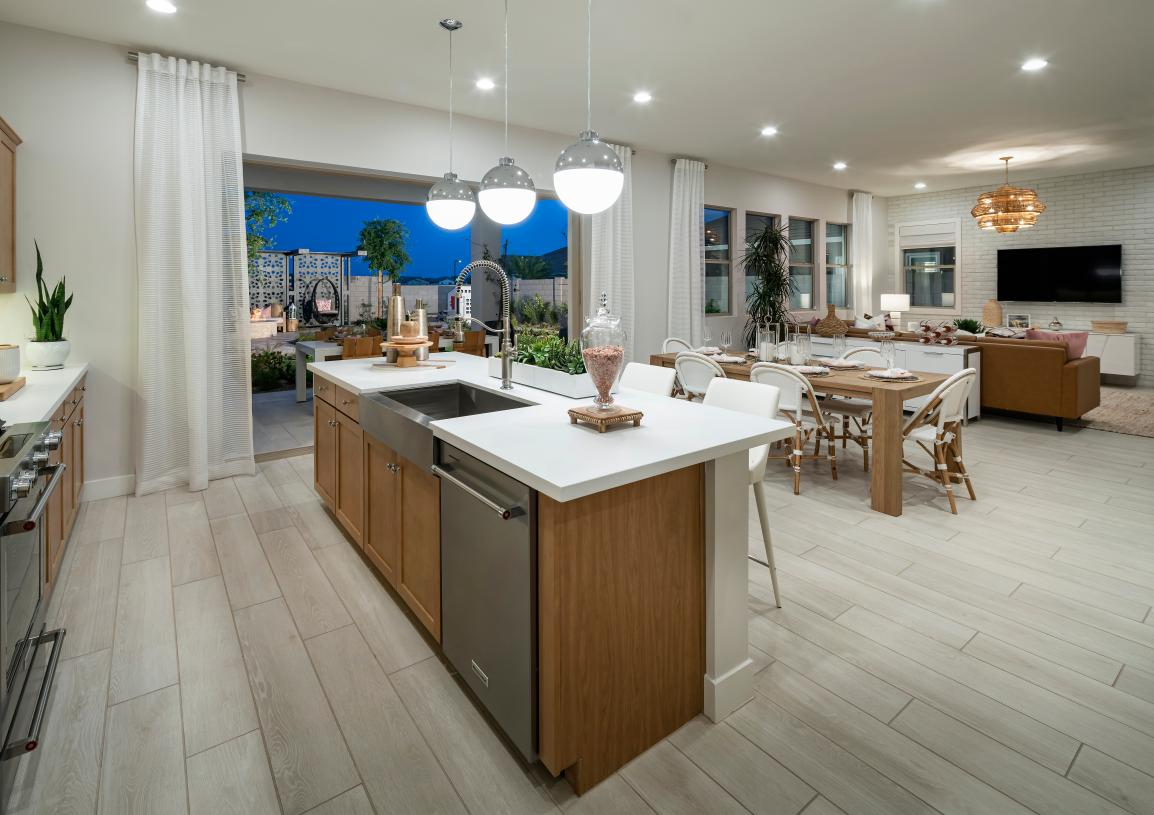 Open-concept floor plan with views of the stunning great room and patio beyond