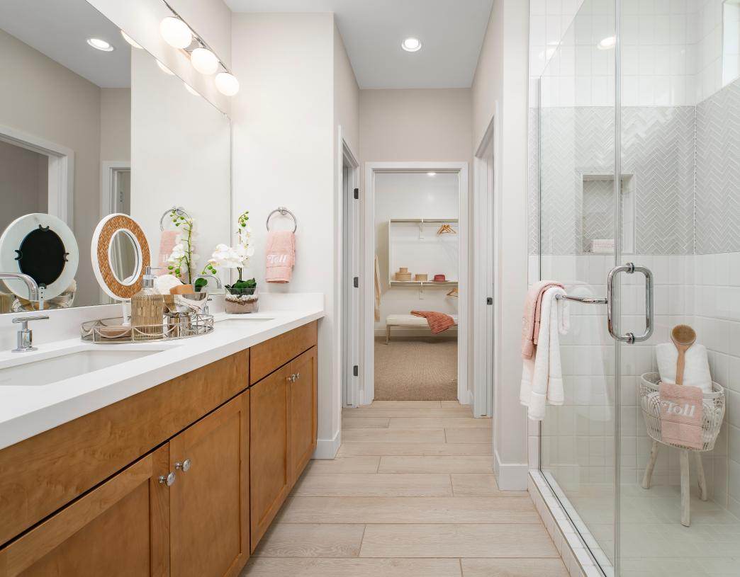 Lavish primary bath with large walk-in shower and dual-sink vanity