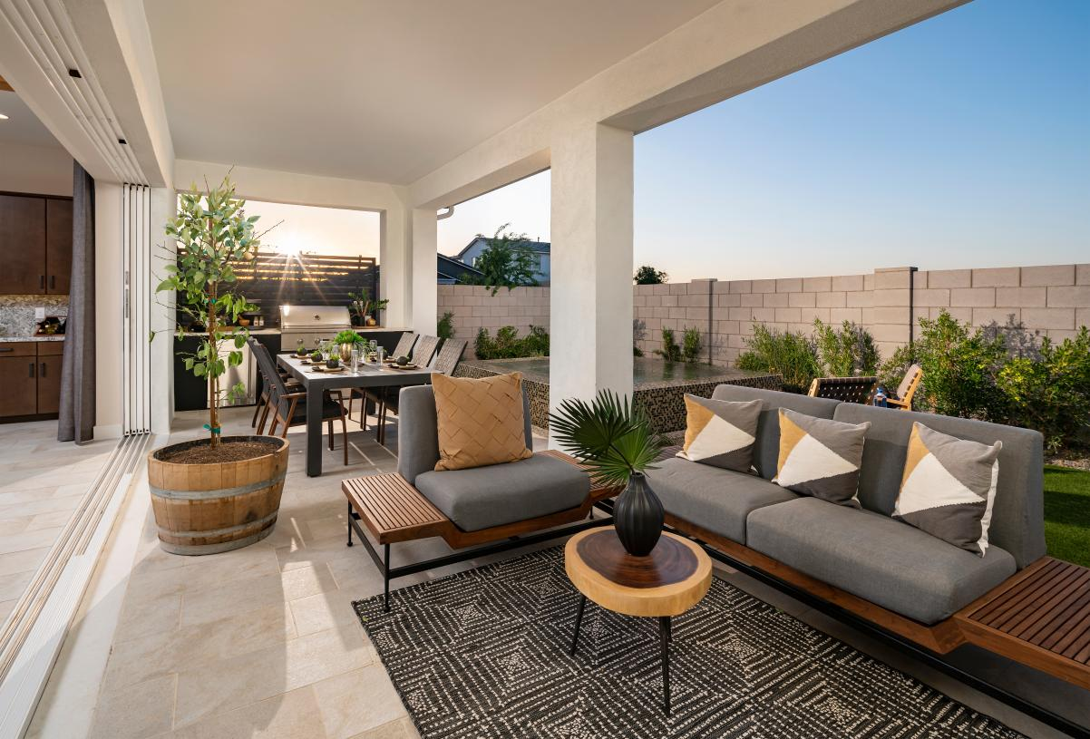 Extended covered patio for outdoor living and entertaining