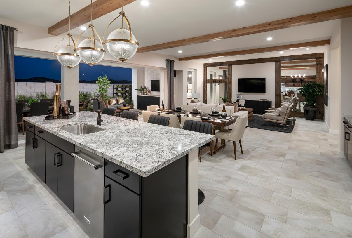 Gorgeous views from kitchen of the great room and outdoor living area beyond