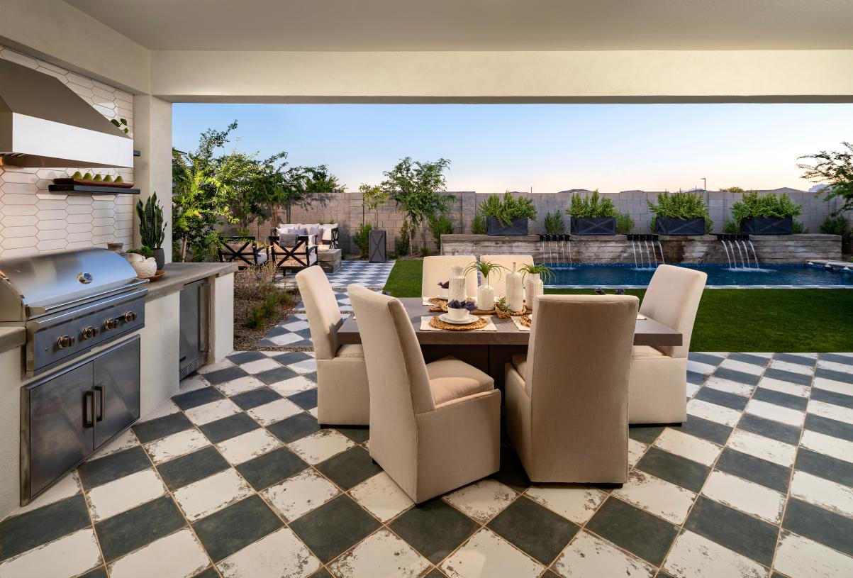 Outdoor kitchen and dining area for entertaining